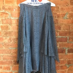Rebecca Taylor Maxi Blue Handkerchief Skirt